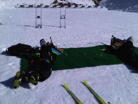 Biathlon post with targets at 10 meters.
