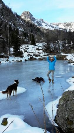 Surprise the lake is frozen