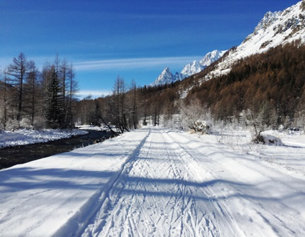 Beautiful scenery from the nordic runs in Val d'Aosta Val Ferret Italy